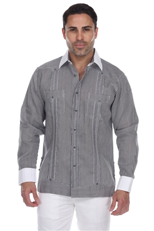 Wholesale Clothing Men's Stripe Print 100% Linen Guayabera Shirt Long Sleeve -M-5365-A