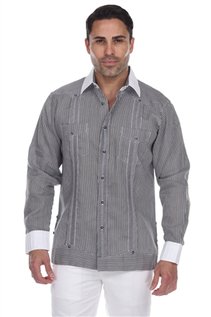 Wholesale Clothing Men's Stripe Print100% Linen Guayabera Shirt Long Sleeve -M-5365-B