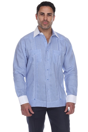 Wholesale Clothing Men's Stripe Print Big Size 100% Linen Guayabera Shirt Long Sleeve -M-5365-C