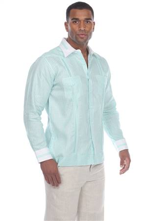 Wholesale Clothing Men's Stripe Print 100% Linen Guayabera Shirt Long Sleeve -M-5366-A