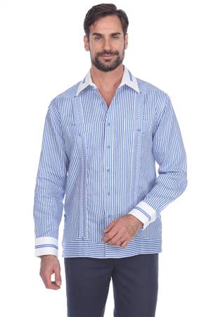 Wholesale Clothing Men's Stripe Print 100% Linen Guayabera Shirt Long Sleeve -M-5366-B