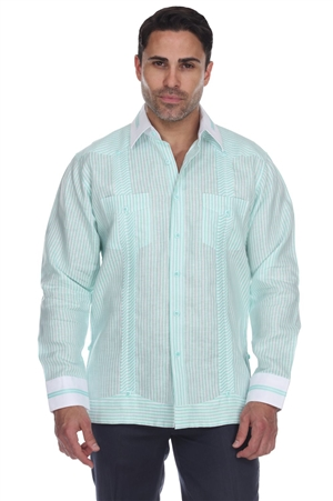 Wholesale Clothing Men's Stripe Print Big Size 100% Linen Guayabera Shirt Long Sleeve -M-5366-C