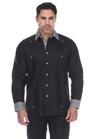 Wholesale Clothing Men's Striped Collar & Cuff 100% Linen Guayabera Shirt Long Sleeve -M-5367-B