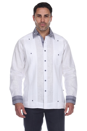 Wholesale Clothing Men's Striped Collar & Cuff Big Size 100% Linen Guayabera Shirt Long Sleeve -M-5367-C