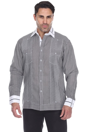 Wholesale Clothing Men's Stripe Print 100% Linen Guayabera Shirt Long Sleeve -M-5368-B