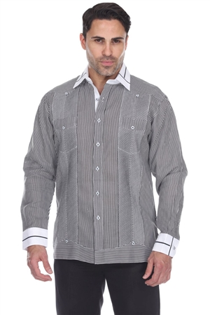 Wholesale Clothing Men's Stripe Print Big Size 100% Linen Guayabera Shirt Long Sleeve -M-5368-C
