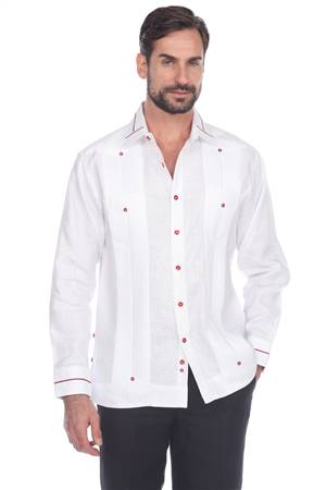 Wholesale Clothing Men's Collar & Cuff Design 100% Linen Guayabera Shirt Long Sleeve -M-5369-A