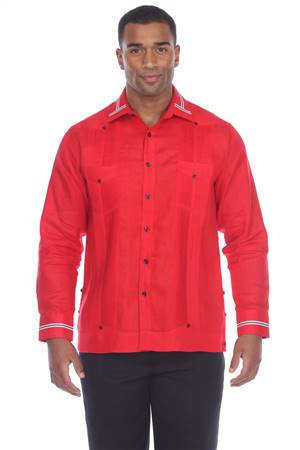 Wholesale Clothing Men's Collar & Cuff Design 100% Linen Guayabera Shirt Long Sleeve -M-5369-B