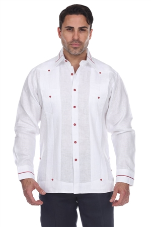 Wholesale Clothing Men's Collar & Cuff Design Big Size 100% Linen Guayabera Shirt Long Sleeve -M-5369-C