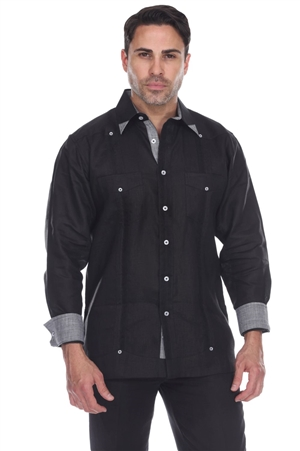 Wholesale Clothing Men's 100% Linen Guayabera Shirt Long Sleeve -M-5370-A