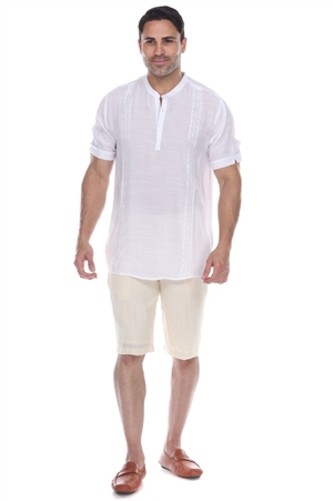 Wholesale Clothing Men's Mandarin Collar Beachwear Button Up Short Sleeve Shirt -M-5371-B
