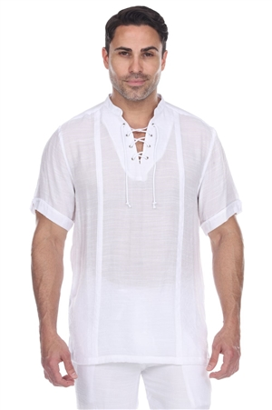 Wholesale Clothing Men's Mandarin Collar Beachwear Lace Up Short Sleeve Shirt -M-5372-A