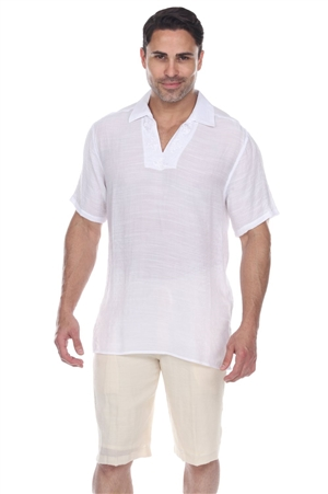 Wholesale Clothing Men's V-Neck Collar Beachwear Short Sleeve Shirt -M-5373-A