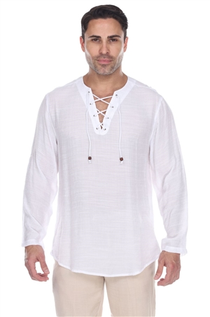 Wholesale Clothing Men's Laced Up Beachwear Long Sleeve Shirt -M-5374-A