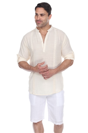 Wholesale Clothing Men's Mandarin Collar Beachwear Roll Up Sleeve Shirt -M-5375-A
