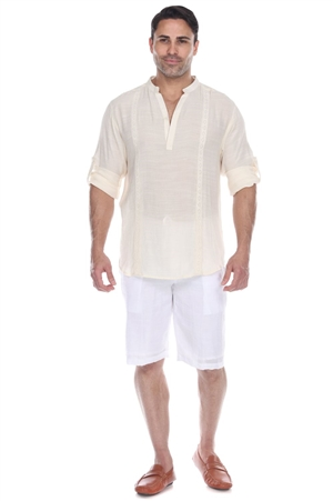 Wholesale Clothing Men's Mandarin Collar Beachwear Roll Up Sleeve Shirt -M-5375-B