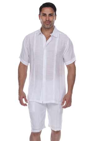 Wholesale Clothing Men's Burron Down Beachwear Short Sleeve Shirt -M-5376-A