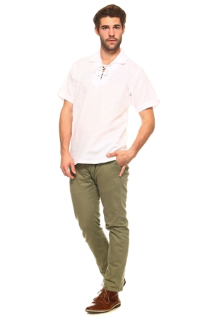 Wholesale Clothing Men's Stylish Embroidered Laced Up Collared Neckline Short Sleeve Resort Lounge Linen Shirt -M-8900-A