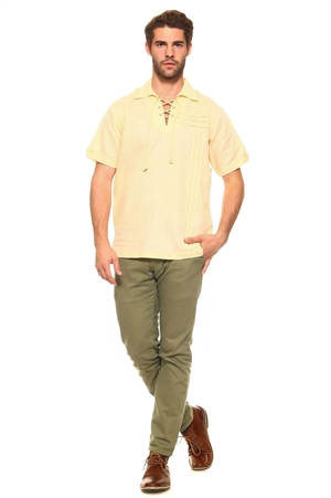 Wholesale Clothing Big and Tall Men's Stylish Embroidered Laced Up Collared Neckline Short Sleeve Resort Lounge Linen Shirt -M-8900-C