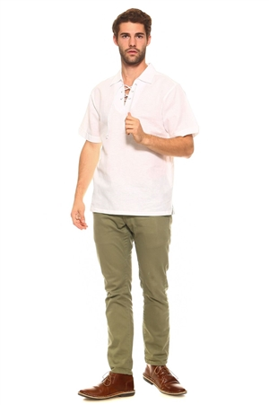 Wholesale Clothing Men's Stylish Laced Up Collared Neckline Short Sleeve Resort Lounge Linen Shirt -M-8905-B