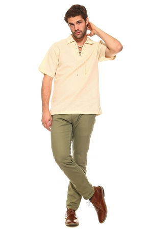 Wholesale Clothing Big and Tall Men's Stylish Laced Up Collared Neckline Short Sleeve Resort Lounge Linen Shirt -M-8905-C
