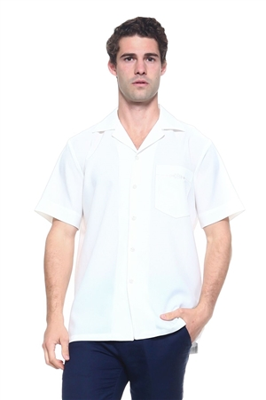 Wholesale Clothing Men's Short Sleeve Shirt with Front Embroidery Accent -MK-1001-A
