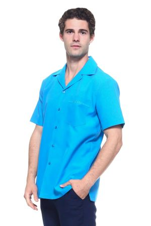 Wholesale Clothing Men's Short Sleeve Shirt with Front Embroidery Accent -MK-1001-B