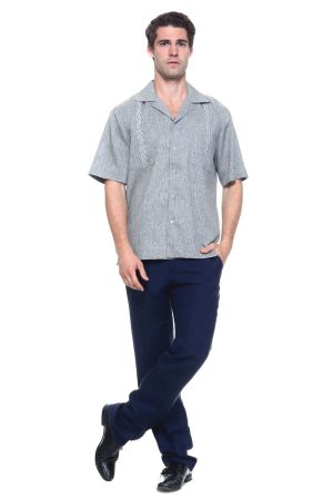 Wholesale Clothing Men's Short Sleeve Shirt with Front Embroidery Accent -MK-1003-B