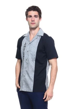 Wholesale Clothing Men's Paneled Short Sleeve Shirt with Front Embroidery Accent -MK-1004-A