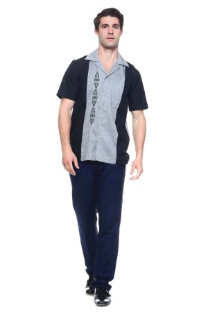 Wholesale Clothing Men's Paneled Short Sleeve Shirt with Front Embroidery Accent -MK-1004-B