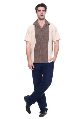 Wholesale Clothing Men's Paneled 2 Tone Short Sleeve Shirt MK-1005-B