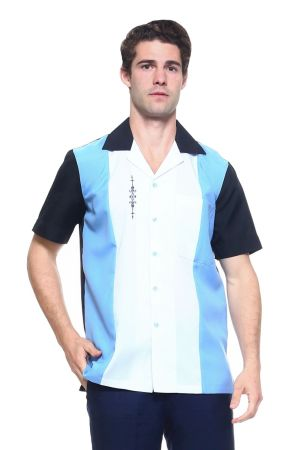 Wholesale Clothing Men's Paneled Short Sleeve Shirt with Front Embroidery Accent -MK-1006-A