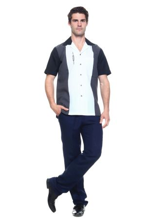 Wholesale Clothing Men's Paneled Short Sleeve Shirt with Front Embroidery Accent -MK-1006-B