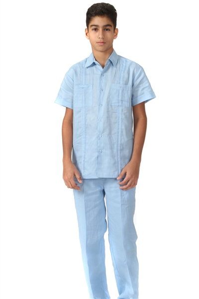 Wholesale Guayabera Linen Set for Boy's with Embroidery Design by MOJITO.