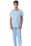 Wholesale Boy's Guayabera Linen Set with Embroidery Design by MOJITO.