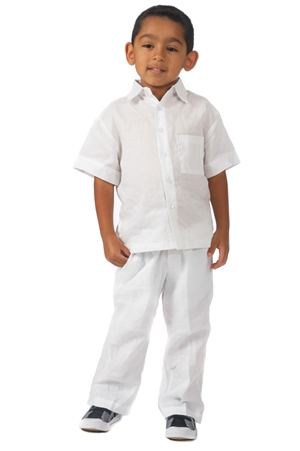 Wholesale Boy's Natural Linen Set with Front Pocket Design by MOJITO.