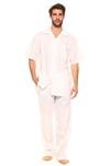 Wholesale Clothing Big and Tall Men's Linen Set with Resort Lounge Button Down Shirt and Pant -MSB-3400-A