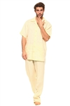 Wholesale Clothing Big and Tall Men's Linen Set with Resort Lounge Button Down Shirt and Pant -MSB-3400-B