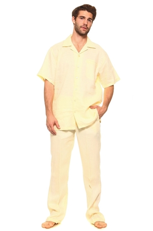 Wholesale Clothing Big and Tall Men's Linen Set with Resort Lounge Button Down Shirt and Pant -MSB-3400-C