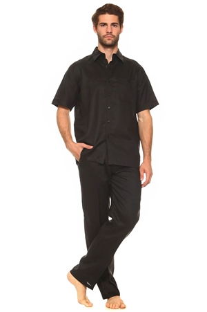 Wholesale Clothing Men's Linen Set with Resort Lounge Button Down Short Sleeve Shirt and Pant -MSP-70034-A