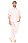 Wholesale Clothing Men's Linen Set with Resort Lounge Button Down Short Sleeve Shirt and Pant -MSP-70034-B