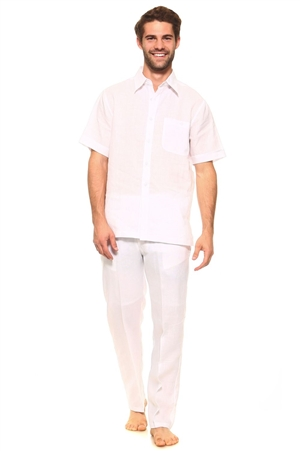 Wholesale Clothing Big and Tall Men's Linen Set with Resort Lounge Button Down Short Sleeve Shirt and Pant -MSP-70034-B