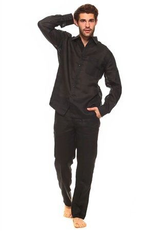 Wholesale Clothing Men's Linen Set with Resort Lounge Button Down Long Sleeve Shirt and Pant -MSP-70037-A