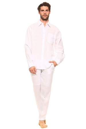 Wholesale Clothing Men's Linen Set with Resort Lounge Button Down Long Sleeve Shirt and Pant -MSP-70037-B