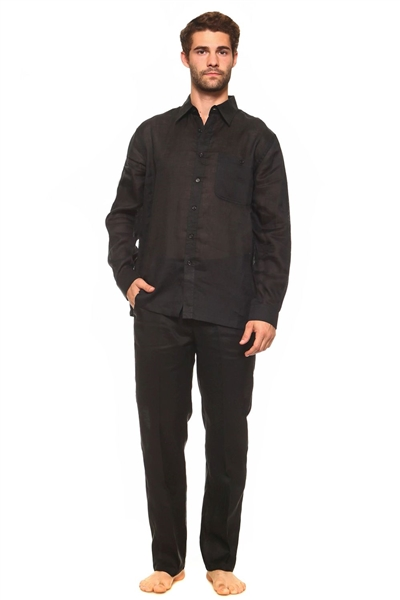 Wholesale Clothing Big and Tall Men's Linen Set with Resort Lounge Button Down Long Sleeve Shirt and Pant -MSP-70037-C