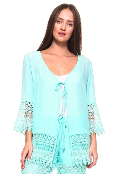 Wholesale Fashion Women's Crochet Accent 3/4 Sleeve Cardigan Cover Up Top -NC-1050