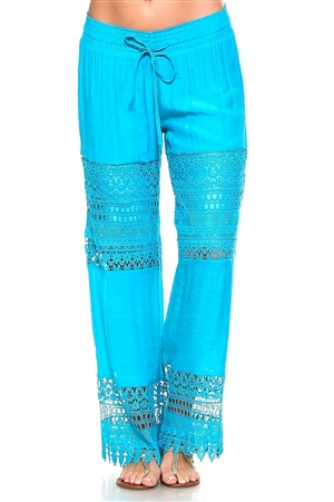 Wholesale Fashion Women's Crochet Accent Trim Casual Lounge Pants with Smocked Drawstring Waistline -NC-1052