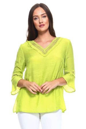Wholesale Clothing Women's Crochet Trim Design ¾ Sleeve V Neck Top -NC-1053