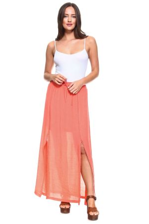 Wholesale Clothing Women's Side Slit Maxi Skirt with Crochet Hem Trim and Drawstring Waistline -NC-1056