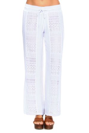 Wholesale Clothing Women's Crochet Trim Front Design Drawstring Waistline Fully Lined Lounge Pants -NC-1058